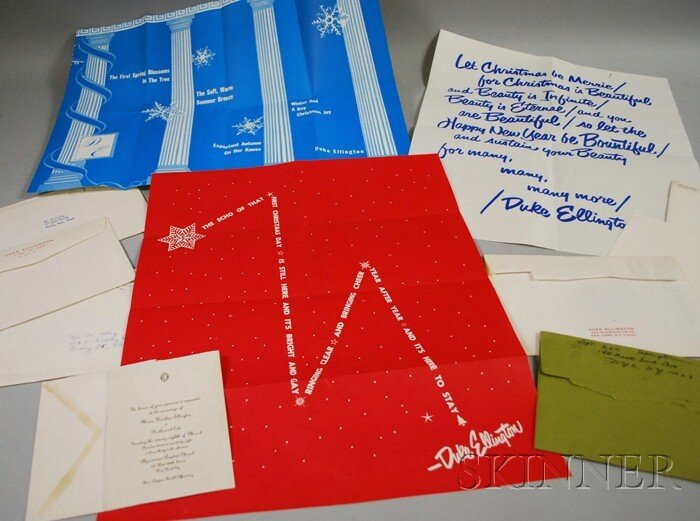 21: Six Duke Ellington Christmas Cards, a Wedding Invit
