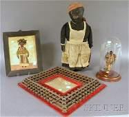 412 Folk Art Black Figural Items and a Tramp Art Frame
