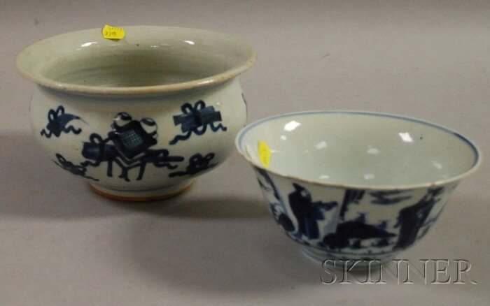 501: Two Blue and White Bowls, China, a bowl with the s