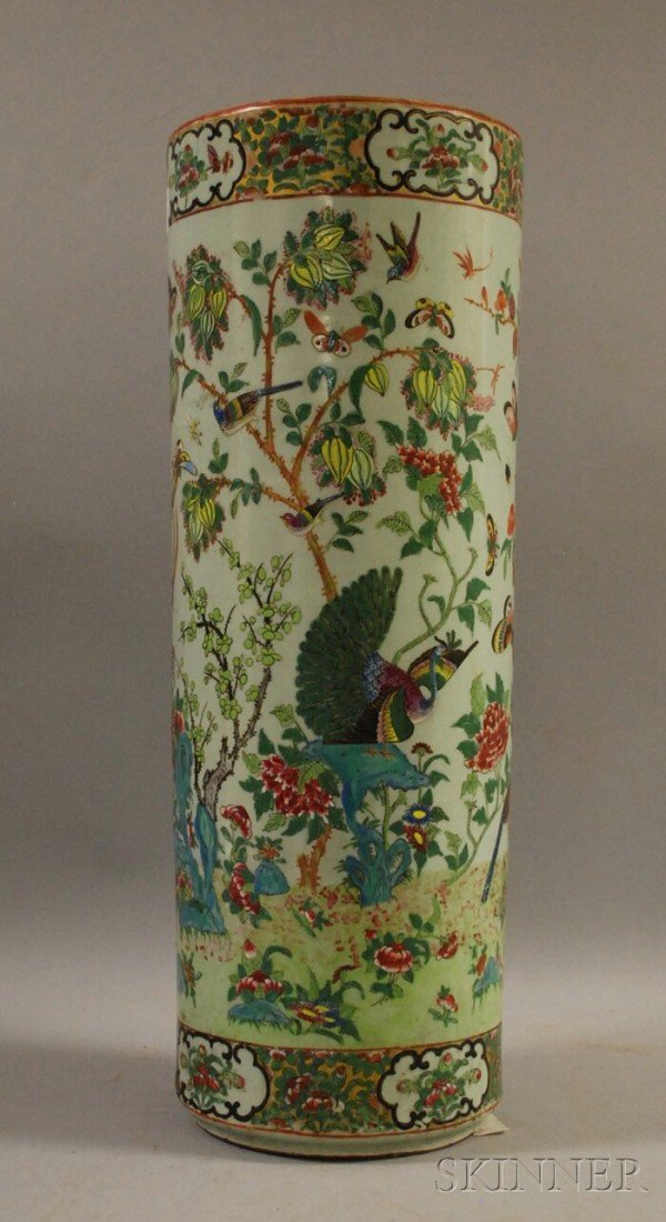 502: Chinese Export Porcelain Umbrella Stand, celadon g