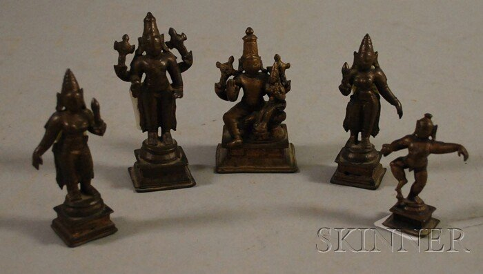 504: Five Small Bronze Hindu Deities, India, in various