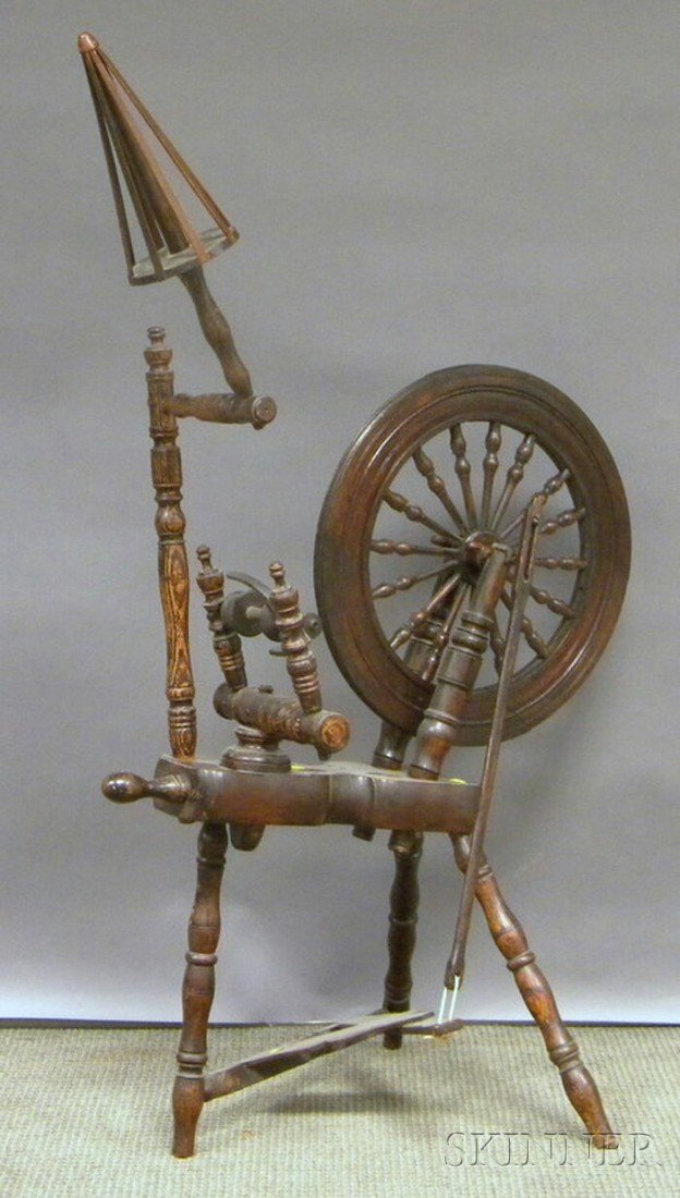 513: Oak Spinning Wheel, ht. 55 1/2 in.