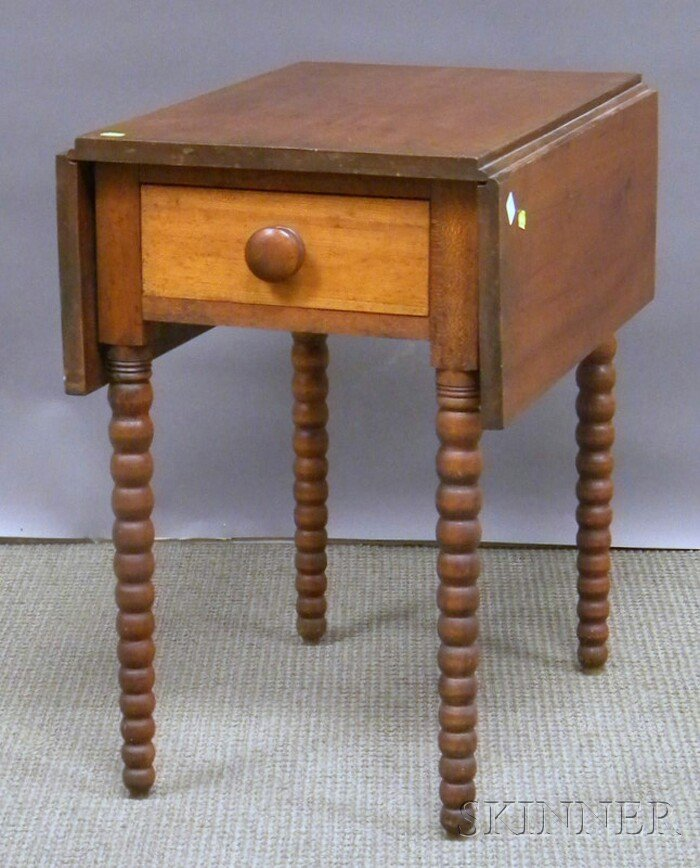 514: Cherry Drop-leaf Table with End Drawer and Spool-t
