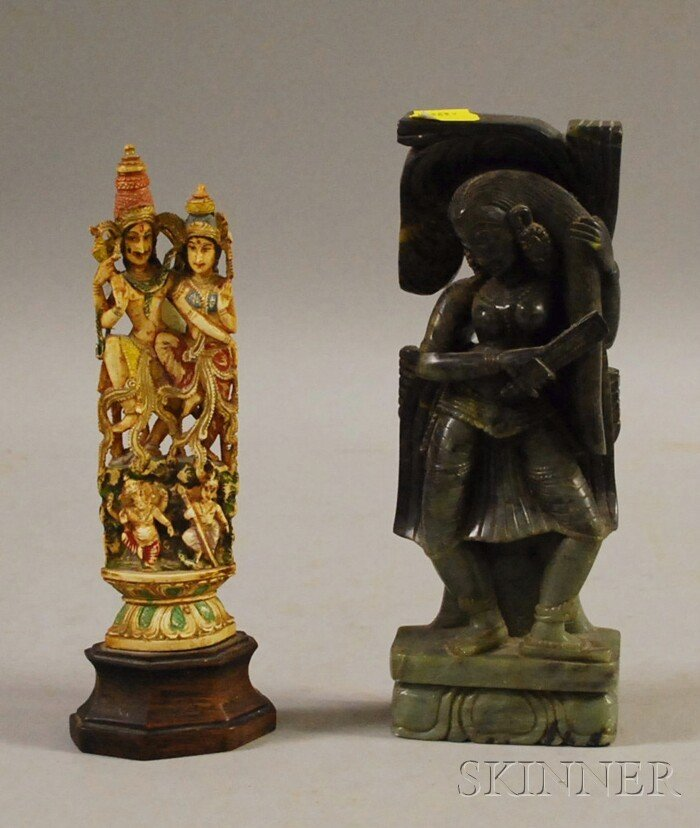 516: Two Indian Carvings, a soapstone carving of a woma