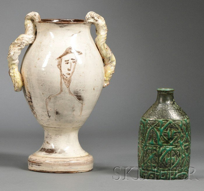 519: Two Modern Pottery Vases, Denmark, one baluster fo