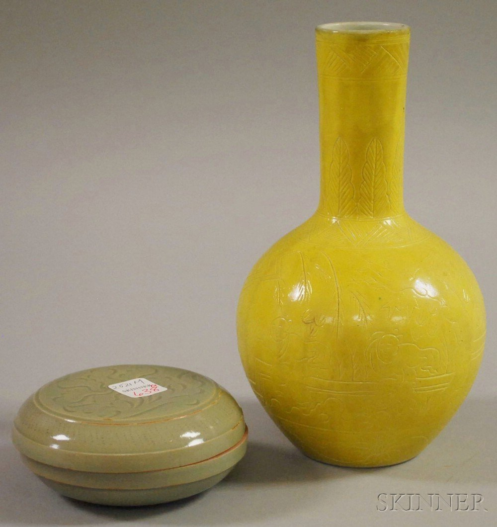 523: Yellow Enameled Globular Vase and a Yaozhou-type B