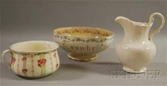 993: Three Decorated Ceramic Items, a chamber pot, pitc