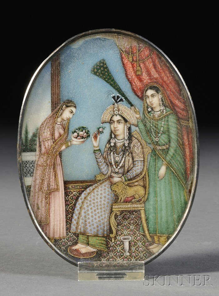 6: Miniature Painting, India, 19th century, oval shape,