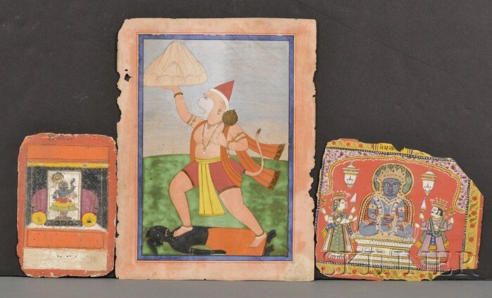 7: Lot of Three Miniature Paintings, India, 19th centur
