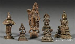 42: Five Metal Works, three 19th century Hindu bronzes,