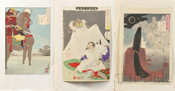 81: Thirty Japanese Woodblock Prints, including a calli