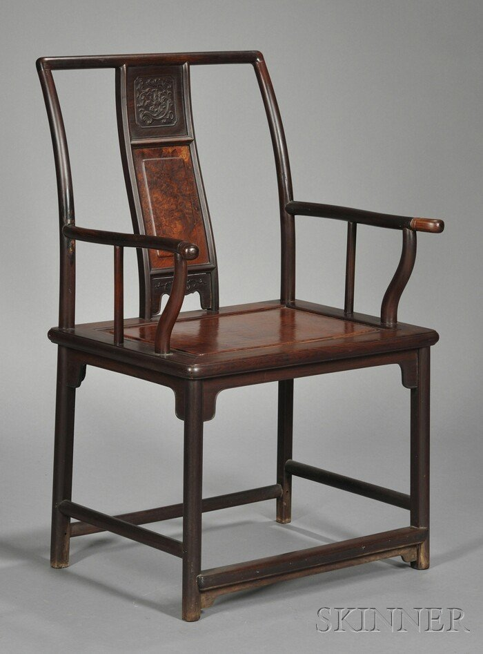 243: Inlaid Rosewood Chair, China, 19th century, the ba