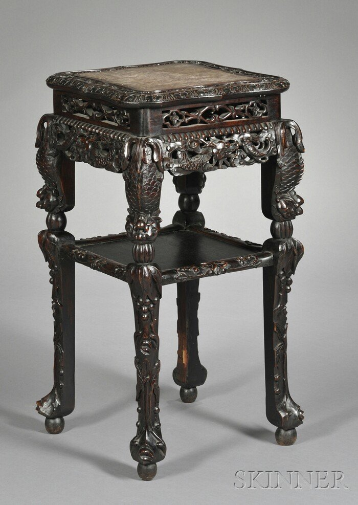 244: Marble-inset Rosewood Stand, China, 19th century,