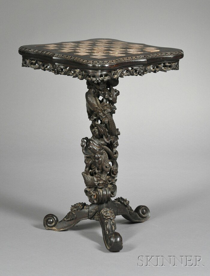 245: Marble-inset Rosewood Chess Table, China, late 19t