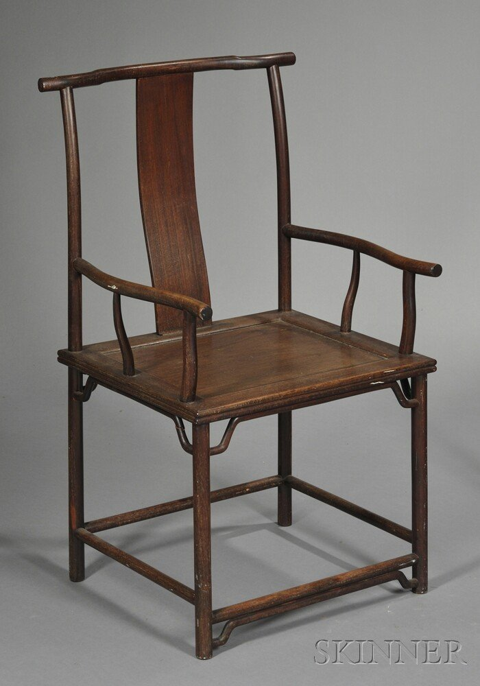246: Rosewood Armchair, China, 19th century, with sligh