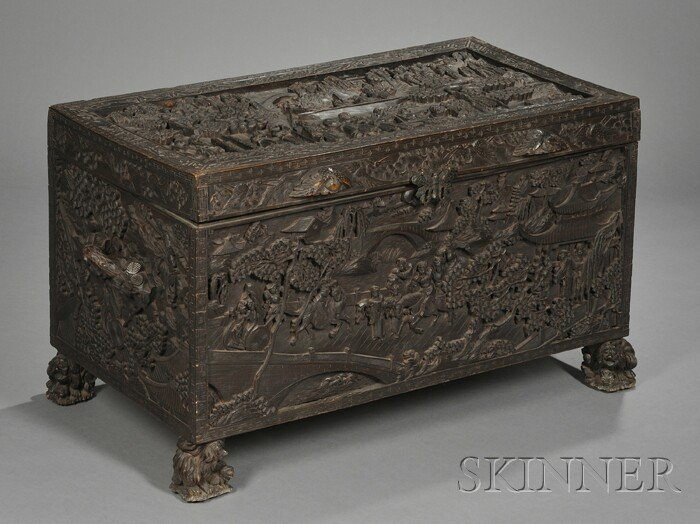 250: Carved Rosewood Chest, China, early 20th century,