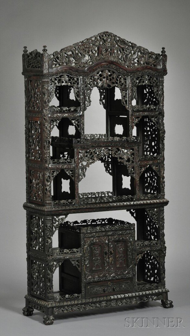 251: Blackwood Display Cabinet, China, 19th century, wi