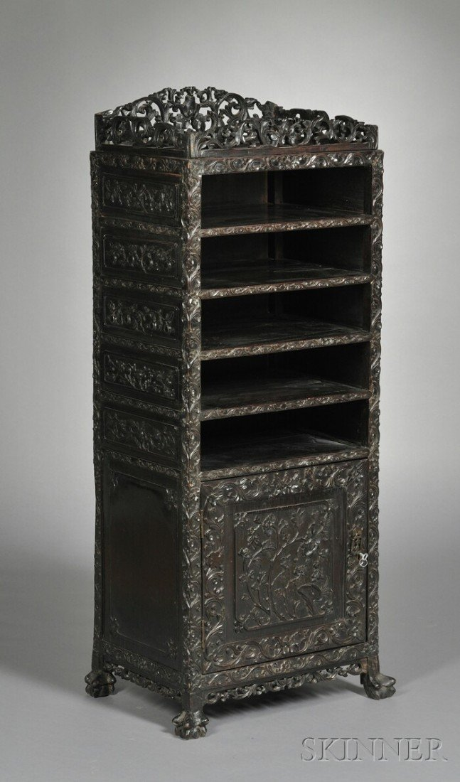 252: Rosewood Cabinet, China, 19th century, with five c