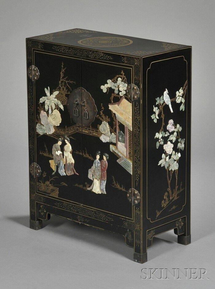 254: Inlaid and Black Lacquered Cabinet, China, early 2