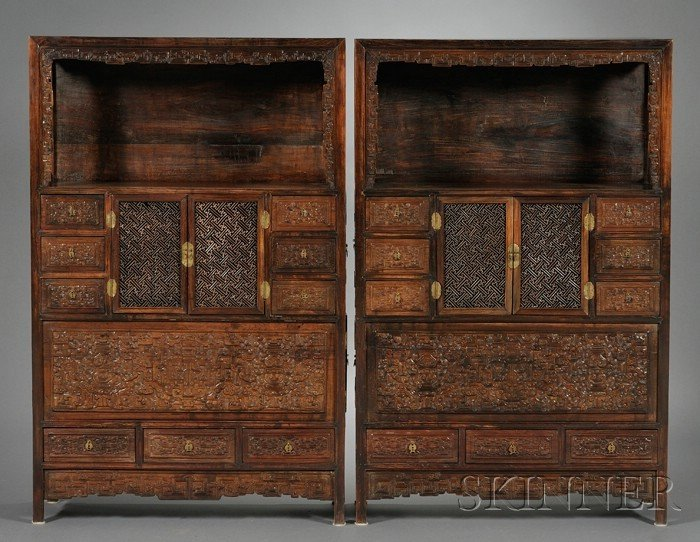 255: Pair of Hongmu Display Cupboards, China, 18th cent