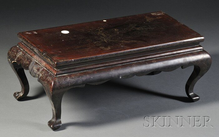 258: Silver-inlaid Stand, China, late 19th century, sur