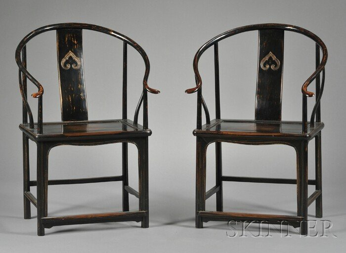 260: Pair of Yoke-back Chairs, China, 19th century, the