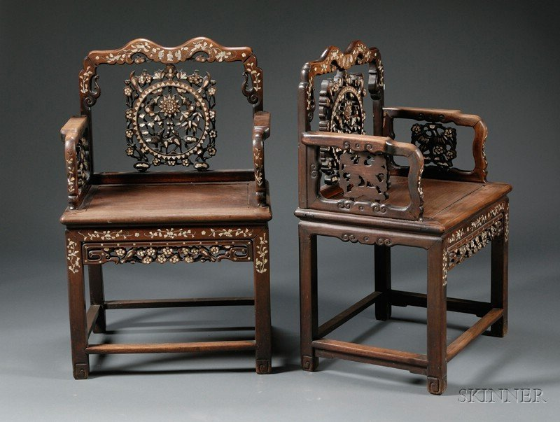 260A: Pair of Chairs, China, 19th century, carved rosew