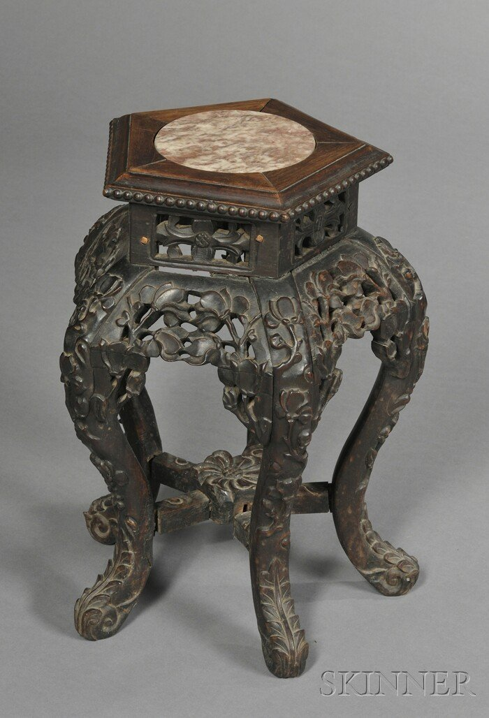 261: Marble-inset Rosewood Stand, China, 19th century,
