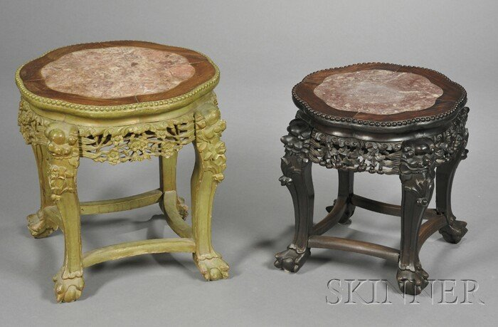 263: Two Rosewood Tabourets, China, 19th century, each