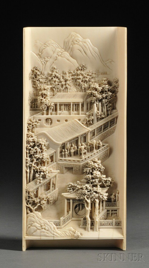 540: Ivory Panel, China, late 19th century, the rectang