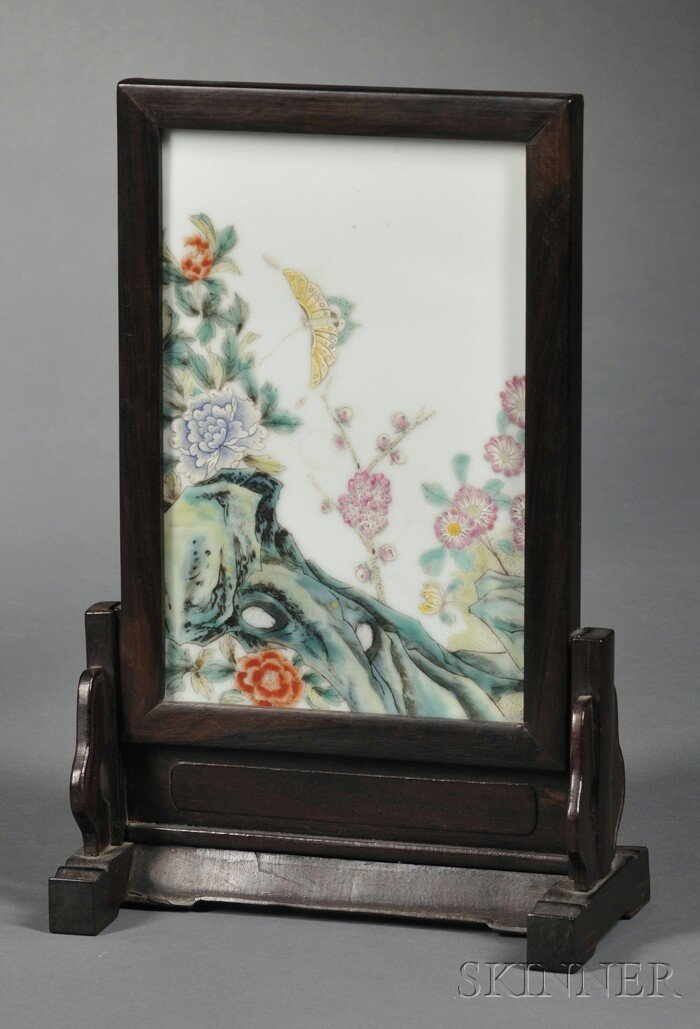 607: Framed Porcelain Plaque, China, early 20th century