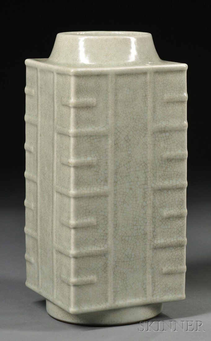 628: Celadon Cong Vase, China, 19th century, of archaic