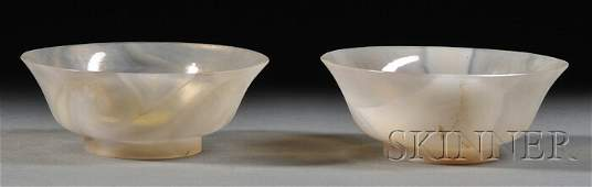 928: Pair of Agate Bowls, China, early 20th century, ea