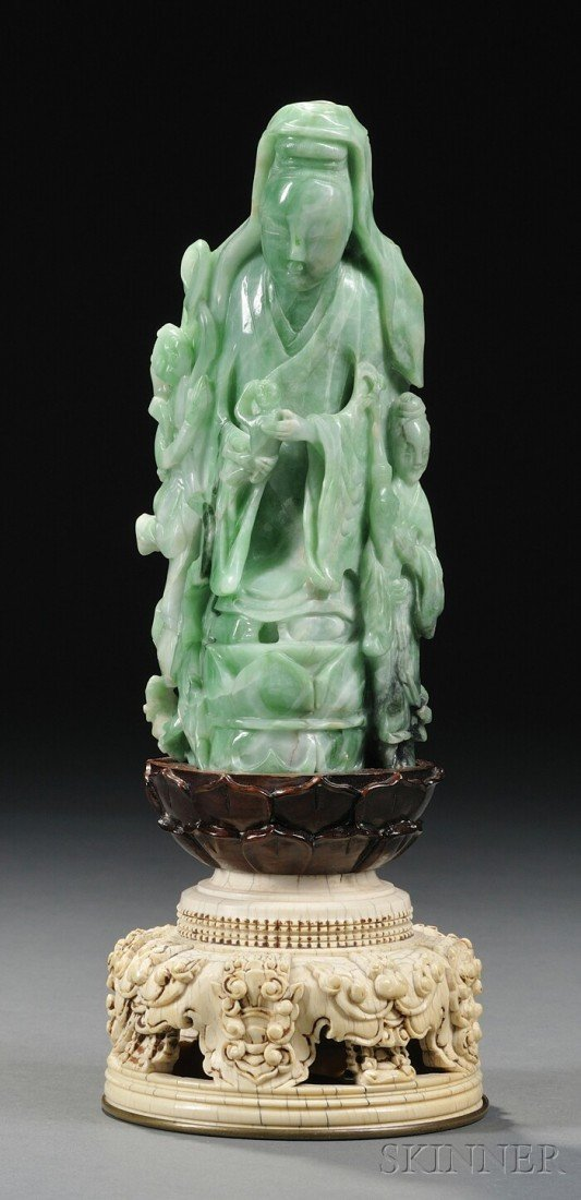 984: Jadeite Guanyin on an Ivory Stand, China, 18th cen
