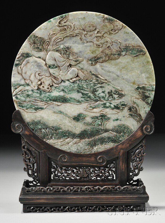992: Hardstone Plaque, China, the circular plaque carve