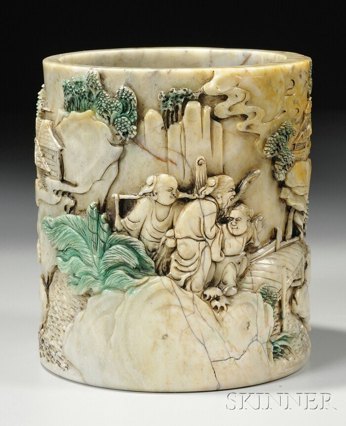993: Soapstone Brush Pot, China, late 19th/early 20th c