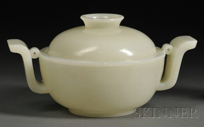 997: Jade Bowl with Cover, China, the rounded bowl flan