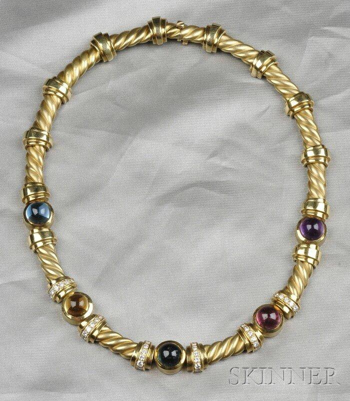 1: 18kt Gold, Gem-set, and Diamond Necklace, Esti Frede