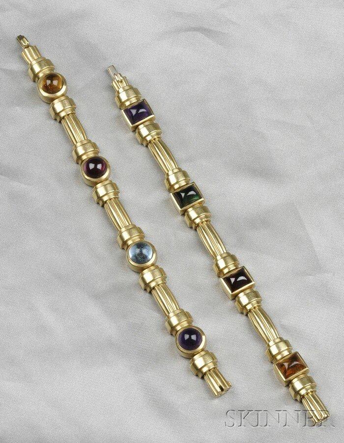 2: Two 18kt Gold Gem-set Bracelets, both set with vario