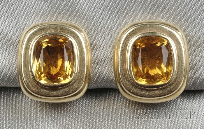 3: 14kt Gold and Citrine Earclips, each bezel-set with