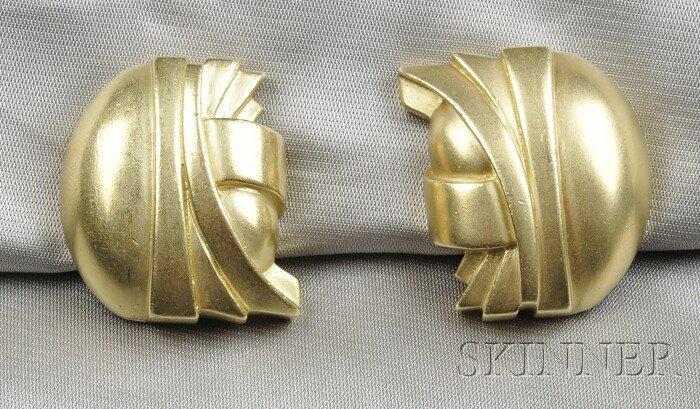 4: 18kt Gold Earclips, Barry Kieselstein-Cord, each of