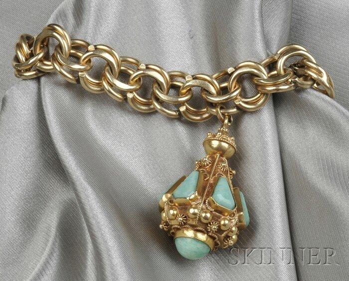 9: 14kt Gold Charm Bracelet, composed of circular links