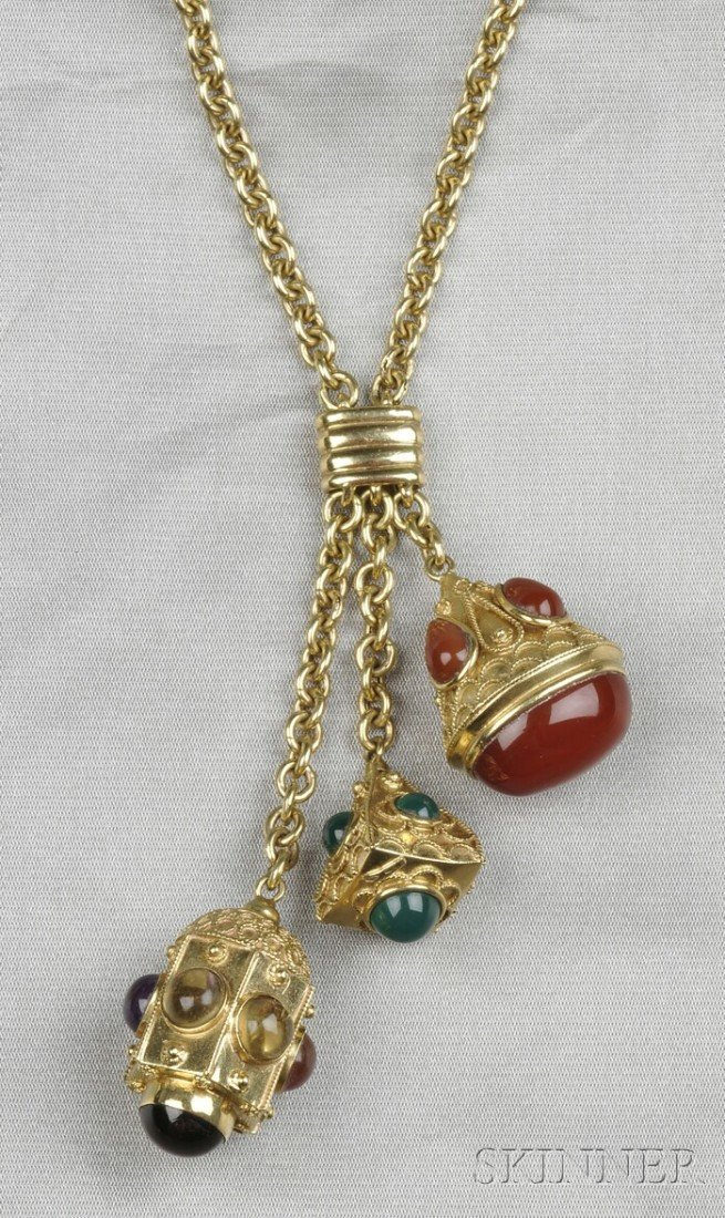 10: 18kt Gold Gem-set Necklace, composed of three charm