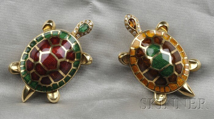 24: Two 18kt Gold, Enamel, and Gem-set Turtle Brooches,