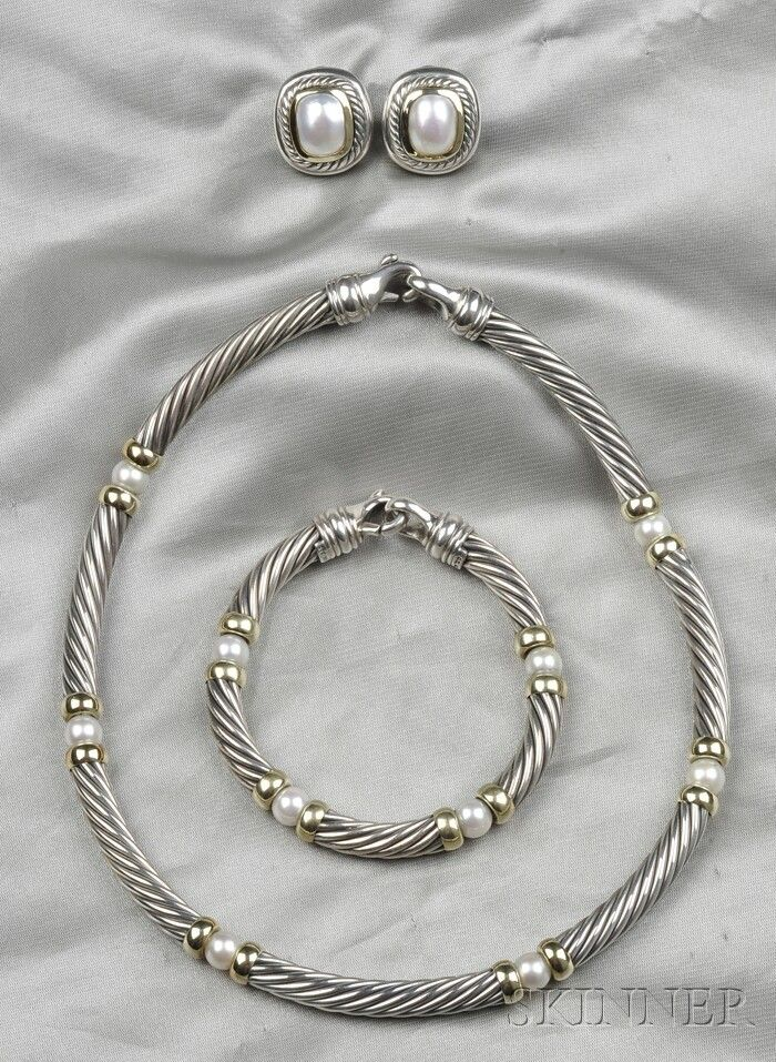 Sterling Silver, 14kt Gold, and Cultured Pearl Cab