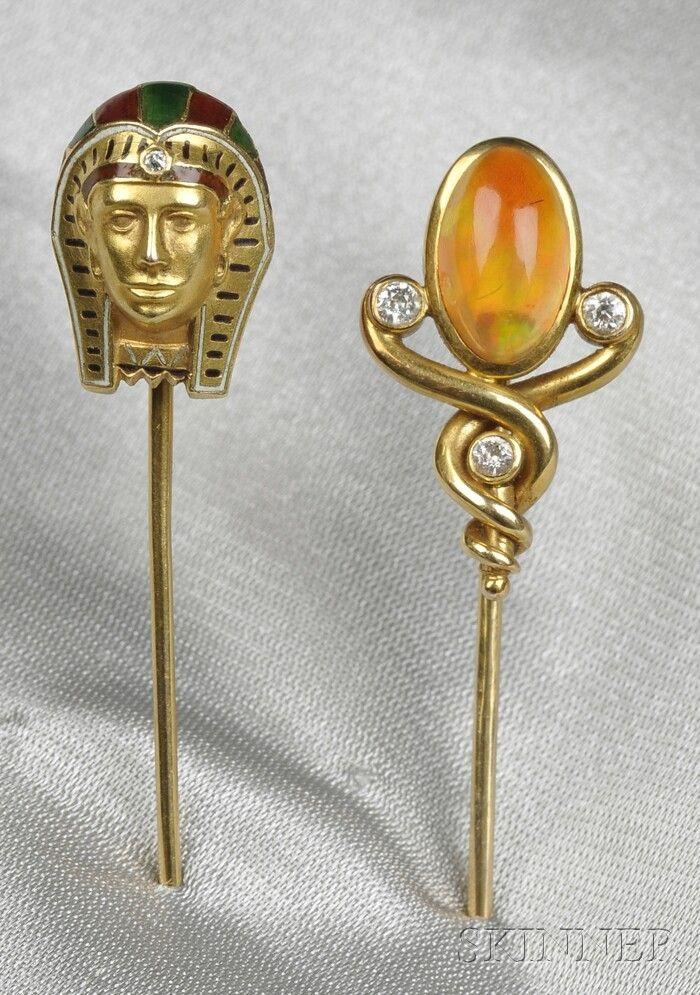 Two Antique 14kt Gold and Gem-set Stickpins, an Eg
