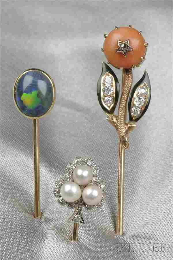 Three Antique 14kt Gold Gem-set Stickpins, one bez