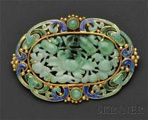 415 Arts  Crafts 18kt Gold Jade and Enamel Brooch