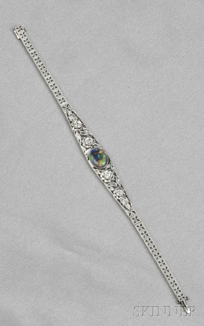 664: Art Deco Platinum, Black Opal, and Diamond Bracele