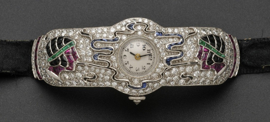 841: Art Deco Platinum Gem-set Figural Wristwatch, attr
